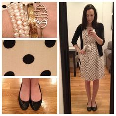 OOTD | never enough polka dots (Taken with Instagram) Sweater, J. Crew Dress, Old Navy Shoes, J. Crew