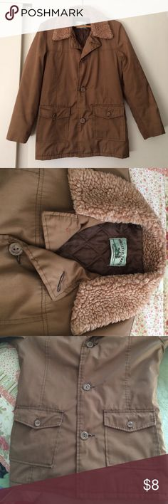 Brown pacific trail sportswear jacket Light brown with faux fur collar , quilted lining, 2 front pockets, 3 button front, longer style. My daughter wears a ladies small and it fits her very well. pacific trail sportswear Jackets & Coats