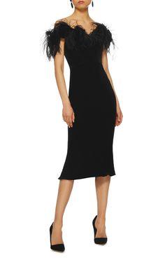 Ostrich Feather Off The Shoulder Velvet Dress by Marchesa | Moda Operandi