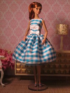 Checked Silk Party Dress by Bellissimacouture on Etsy