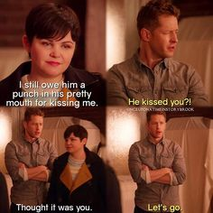 """Snow: """"I still owe him a punch in his pretty mouth for kissing me."""" Charming: """"He kissed you?!"""" Snow: """"Thought it was you."""" Charming: """"Let's go."""""""