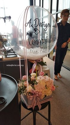 As Soon As I Saw You, I Know A Great Adventure Was Begin  #HotAirBallon #ADesignLab #Farevers #Opening  #米兰花屋 #MilanFlorist #happymothersday 016-7677027 / 016-7704487 , milanflorist.com.my Flower Box Gift, Flower Boxes, Balloon Flowers, Balloon Bouquet, Diy Birthday, 70th Birthday Parties, Edible Arrangements, Flower Arrangements, Chocolate Flowers Bouquet