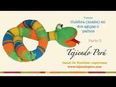 Culebra (snake) tejida en dos agujas o palitos (parte 3: boca y armado) - YouTube
