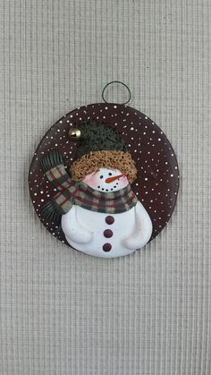 hand sculpted polymer clay Scotty plaid snowman ornament by JessiesCornerClay on Etsy Christmas Elf Doll, Polymer Clay Christmas, Christmas Drawing, Christmas Wood, Felt Christmas Decorations, Felt Christmas Ornaments, Snowman Ornaments, Snowmen, Snowman Crafts