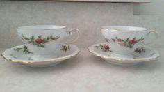 Set of 2 Johann Haviland Germany Bavaria Footed Cups & Saucers Pink Moss Rose #JohannHaviland