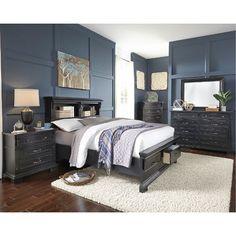 Black Rustic Classic 6 Piece Queen Bedroom Set