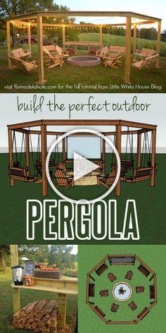 Diy Pergola, Building A Pergola, Pergola Swing, Outdoor Pergola, Backyard Patio, Backyard Landscaping, Backyard Shade, Outdoor Cabana, Modern Pergola