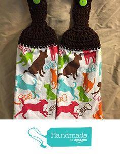 Free shipping to USA included in price - 2 CROCHET KITCHEN hand TOWEL LIGHT terry cloth Dog theme Woof Bark - Chocolate Brown 100% acrylic yarn top - smoke free - pet free https://www.amazon.com/dp/B072QBGMM4/ref=hnd_sw_r_pi_dp_VJEnzbJM3F5NK #handmadeatamazon