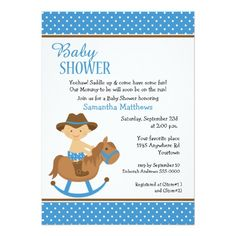 Western Baby on Rocking Horse Baby Shower Card