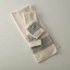 Center Stripe Towels - Navy | Bath Linens | Bed + Bath