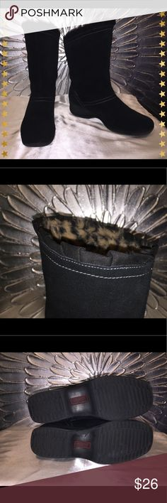 """💧Sporto 100% Suede, Waterproof Boots These Sporto mid-calf, waterproof, suede black boots are size 9-1/2 and the inside top portion is lined with faux leopard fur.  1-1/2"""" wedge heel, 5-1/2"""" shaft.  Good used condition, signs of wear only on heels (see photo) but are not noticeable from a distance.  Very comfy, very warm, and waterproof! Sporto Shoes Ankle Boots & Booties"""