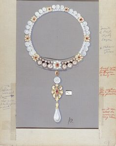 A sketch of the La Peregrina necklace designed by Al Durante of Cartier in collaboration with Liz Taylor, set with the historic 16th century La Peragrina pearl given to Taylor by Richard Burton. The red pen is where Taylor has made notes on the design.