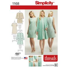 Simplicity 1168 - Get this great dress in two lengths with option of short sleeve or sleeveless, along with the lined collarless coat or jacket with patch pockets. Simplicity sewing pattern.