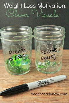 Weight loss motivation... ugh, effing mason jars, but I like the idea. (Seriously, people, step away from the mason jars.)