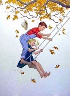 Kids On Swing - Arthur Sarnoff Desenhos Halloween, Norman Rockwell, Ciel, Vintage Cards, Vintage Children, American Art, Childhood Memories, Childrens Books, Illustrators