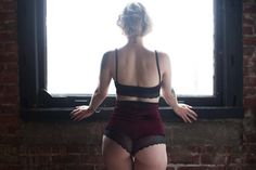High Waist Burgundy Velvet & Lace Panties by VAVAlingerie on Etsy