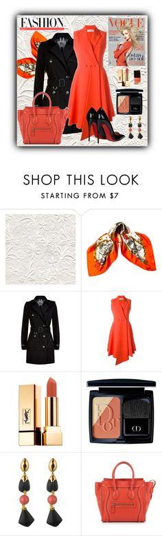 """If I had an orange dress..."" by pomy22 ❤ liked on Polyvore featuring Hermès, Burberry, Christian Dior, Yves Saint Laurent, Alexis Bittar, CÉLINE, OTR, Christian Louboutin, orange and dress"