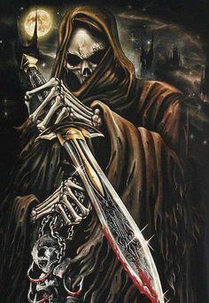 Amazing Grim Reaper Photos and Pictures, Grim Reaper Ultra HD Wallpapers for desktop and mobile Grim Reaper Art, Don't Fear The Reaper, Dark Fantasy Art, Dark Art, Art Harley Davidson, Reaper Tattoo, Rock Poster, Skull Pictures, Skull Artwork