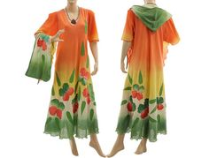Artistic hand dyed maxi dress with hood cotton in von classydress