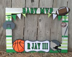 Giant photo booth prop baby shower sports themed with football, basketball and baseball, baby mvp custom message