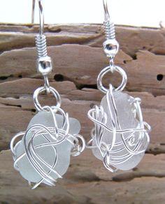 Seaspray Wire Wrapped Scottish Seaglass by cunningcatcrafts, £8.00