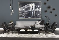 Gray Matters - Casual contemporary with a mid-century flair, this grouping is masculine, moody, and marvelous.
