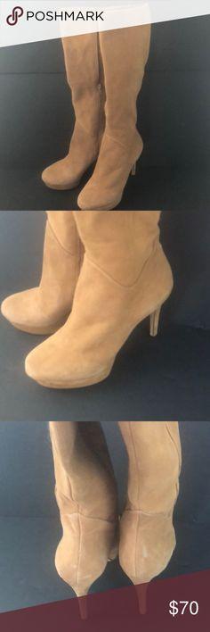 Antonio Melani knee high boots size 9M Beautiful knee high boots by Antonio Melani leather and suede zip up.  Size 9M stiletto platforms light brown ANTONIO MELANI Shoes Heeled Boots
