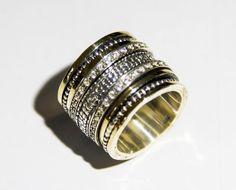 Spinner Ring Israeli Sterling Silver 9ct Gold rings for Woman jewelry Bluenoemi #Bluenoemi #Spinner