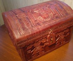 Vintage Tooled Leather Hinged Box. Hand Carved. Great Detail. Tribal Ethnic Aztec Mayan Indian Design. Unique Handmade Jewelry/ Trinket Box by DragonflyGypsySoul on Etsy https://www.etsy.com/listing/216595515/vintage-tooled-leather-hinged-box-hand