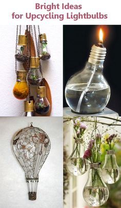 Ideas for Upcycling Lightbulbs I love all of these and the the hot air balloon is so cool! Bright Ideas for Upcycling LightbulbsI love all of these and the the hot air balloon is so cool! Bright Ideas for Upcycling Lightbulbs Diy Upcycling, Upcycle, Reuse, Diy Projects To Try, Craft Projects, Craft Ideas, Fun Crafts, Diy And Crafts, Light Bulb Crafts