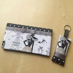 """Duo porte-chéquier et porte-clés rétro chic """"la parisienne"""" N°3 en tissu à pois : Porte-monnaie, portefeuilles par nymeria-creation"""