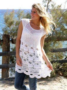 """Túnica Beach patrón crochet """"Cáscaras"""" moda de Gotas"""