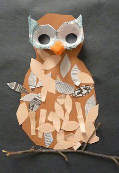Mixed Media Owl art project on blog: Art.Paper.Scissors.Glue! Lots of Art lesson ideas :)