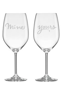 This sweet set of coordinating crystal Kate Spade wine glasses makes sharing just a tad bit easier.