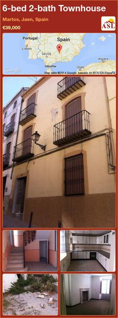 Townhouse for Sale in Martos, Jaen, Spain with 6 bedrooms, 2 bathrooms - A Spanish Life Seville, Lisbon, Townhouse, Terrace, Home And Family, Spain, Old Things, Mansions, Bathroom