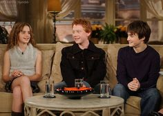 Young Emma Watson, Rupert Grint, and Daniel Radcliffe interview.he look so cute and his smile is so pretty