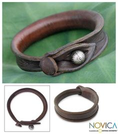 Leather Bracelet from Thailand - Sleek Chic   NOVICA
