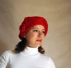 Вязаный берет на заказ, интересная шапка, шапка крючком, зимний ассортимент, Красный вязаный берет из полушерстяной пряжи