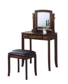 Walnut Solid-Top 2 Piece Vanity Set in Leather-Look Brown