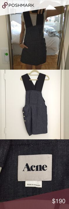 Denim Jumper Dress This dress is so cool and in perfect condition. Features pockets and a snap button up side. Buttons have acne name on them. Large black elastic band straps. Asymmetric lines. Size 36 which is like an xsmall/small. No trades please :) Acne Dresses Mini