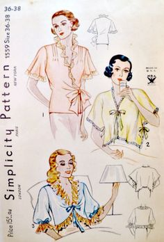 Vintage 1935 © Simplicity 1559 sewing pattern. Envelope in good condition, slight darkening on front and flap is missing. Pattern is non