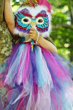 Tutu, Mardi Gras Mask Owl Tutu Dress & Mask, Baby Girl Tutu, Children Tutu, Crochet Owl Tutu, Crochet Mask, Costume, Photography Prop. $130.00, via Etsy.