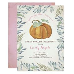Little Pumpkin BIRTHDAY PARTY Invitation Girl Card - birthday diy gift present custom ideas