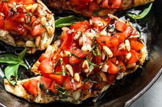 These grilled bruschetta chicken are so amazing–with fresh tomatoes, basil, pine nuts and a tangy sweet balsamic glaze on top, it is a winner for a weeknight dinner for two. Not only it is quickt…