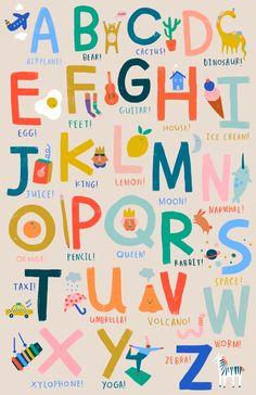 Fun Things Alphabet Art Print by maddko Graphic Design Illustration, Illustration Art, Kids Graphic Design, Palette Pastel, Abc Poster, Kids Poster, Alphabet Art, Alphabet Soup, Kids Prints