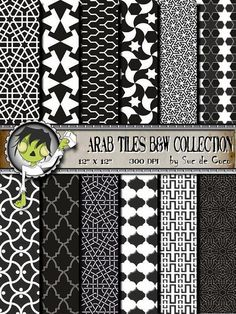 Digital Paper ARAB TILES B & W Collection  For scrapbooking by SUCDECOCO, €3.00