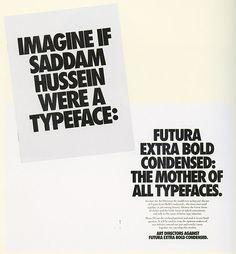 Futura Extra Bold Condensed vs Saddam Hussein