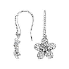 Each of these elegant floral earrings features a stunning center diamond surrounded by five delicate petals that glitter with pavé-set diamond accents.