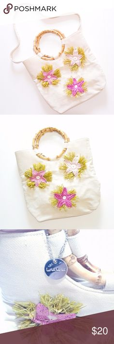 LULU Bamboo Handle Knitted Starfish Purse Brand new NO TAG  LULU Bamboo Handle Knitted Starfish Purse Green paper grass and rhinestones Removable strap Bottom of bag is slight darker, I don't know if that is how it is supposed to be or discoloration.  *PICTURED* Lulu Bags