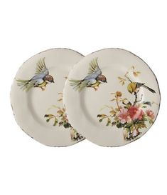 Southern Living Bird with Peony Salad Plates, Set of 2 Ceramica Artistica Ideas, Blue And White Dinnerware, Southern Living Homes, Plates On Wall, Paint Plates, Plate Wall, Arte Floral, Home Decor Accessories, Clothing Accessories